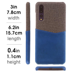 Lilware Card Wallet Plastic Phone Case Compatible with Huawei P20 Pro. Fabric Texture and PU Leather Protective Cover with ID / Credit Card Slot Holder. Blue