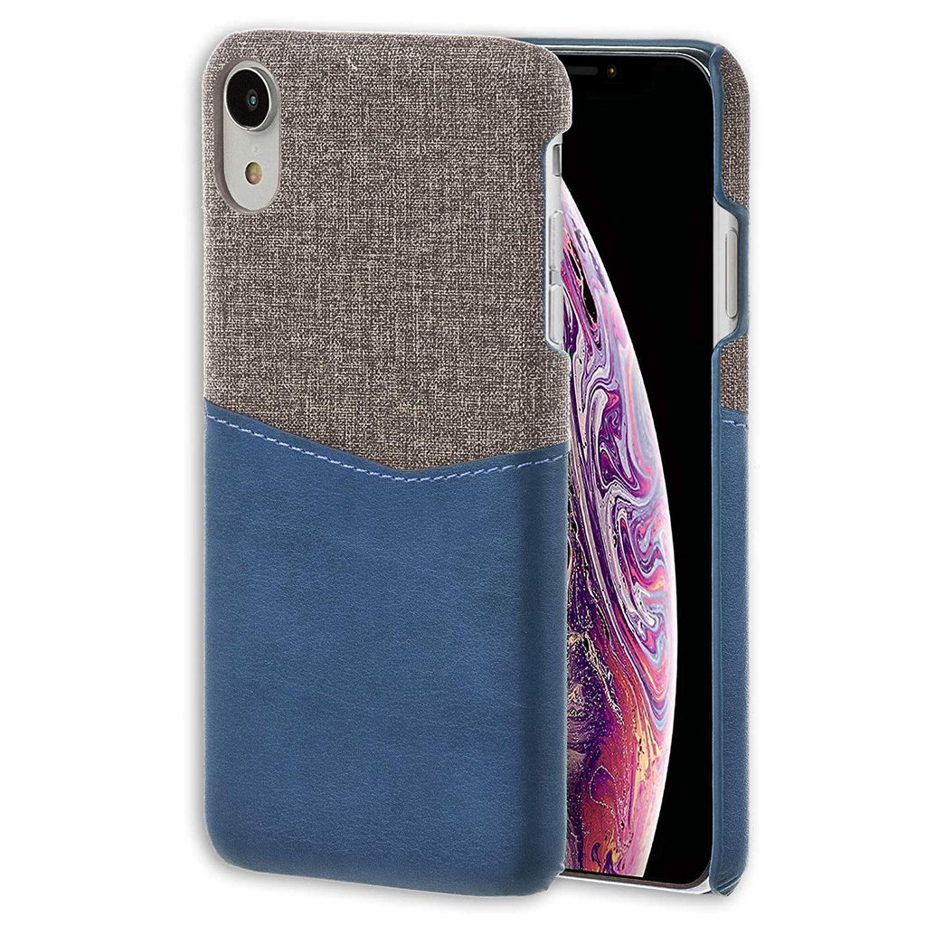 Lilware Card Wallet Plastic Phone Case for Apple iPhone XR. Fabric Texture and PU Leather Protective Cover with ID / Credit Card Slot Holder. Blue