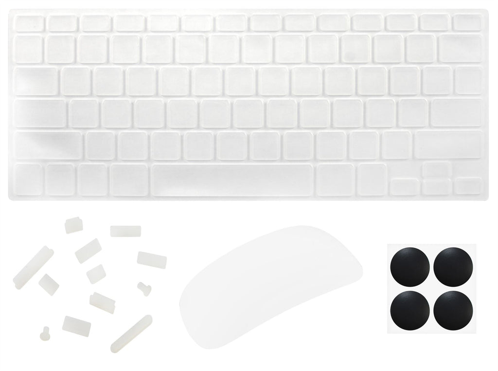"4 in 1 Lilware Universal Accessory Set for Apple Macbook Air 13"". Set of Waterproof USA Keyboard Cover + Magic Mouse Softskin Protector + Anti Dust Plugs + 4 Pack Replacement Rubber Feet. Transparent"
