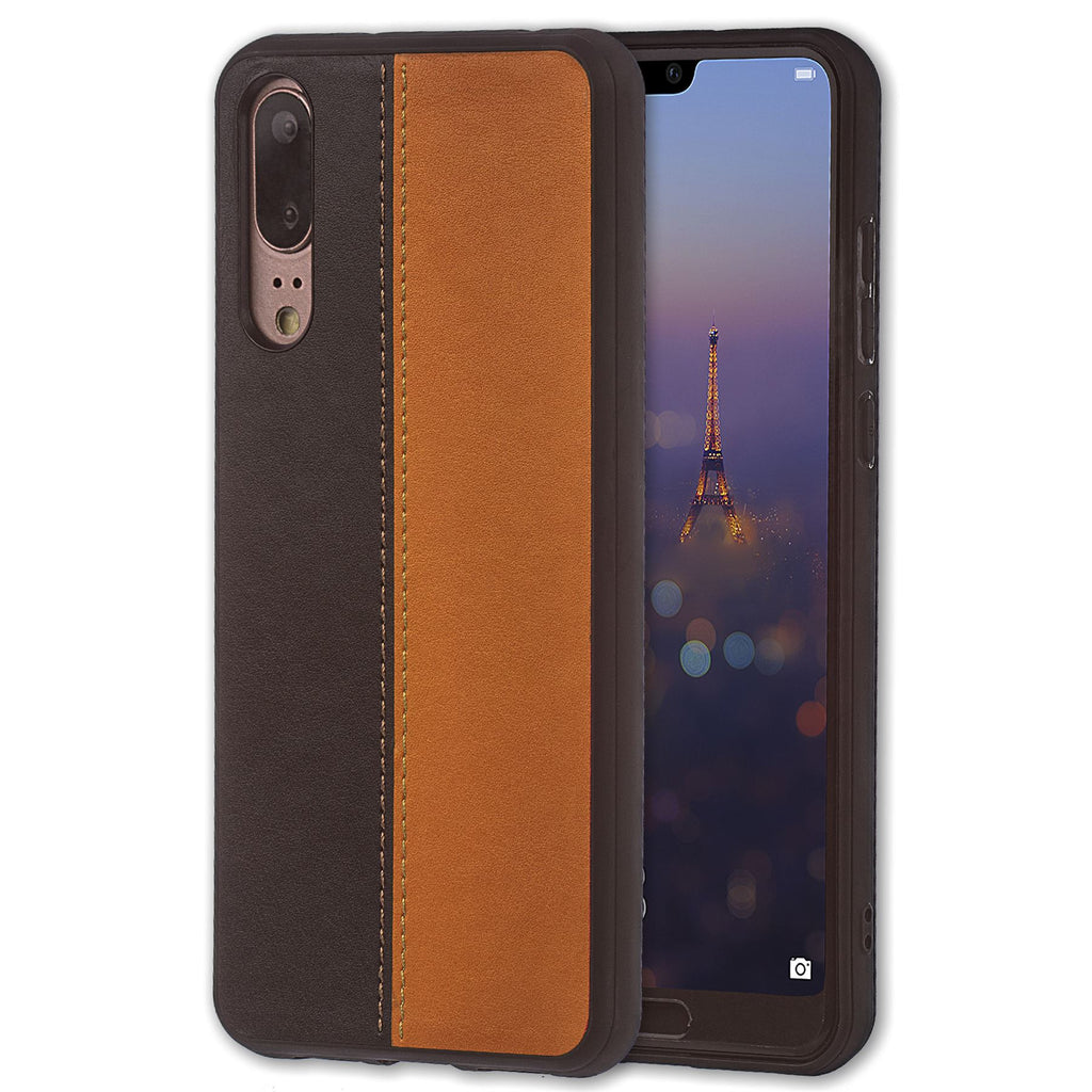 Lilware Bicolor PU Leather Phone Case Compatible with Huawei P20. Brown / Black