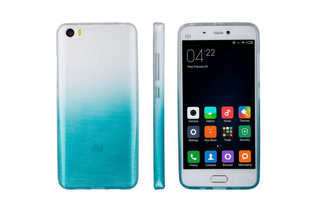 Xcessor Transition Color Flexible TPU Case for Xiaomi Mi 5. With Gradient Silk Thread Texture. Transparent / Light Blue