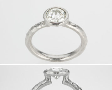 Platinum Pebble Bezel Diamond Ring