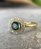 Green Sapphire Halo Ring
