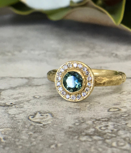 Tourmaline & Diamond Halo Ring
