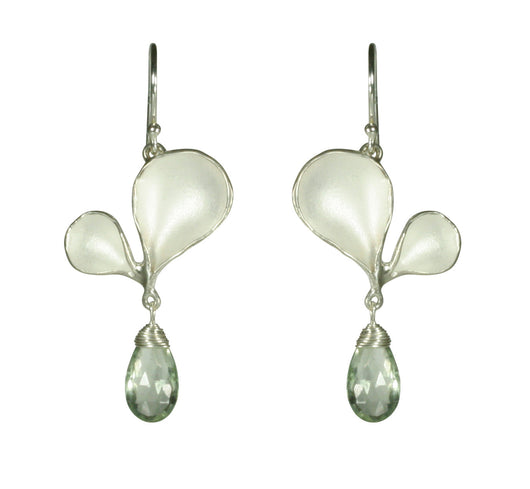 Medium Double Petal Earrings with Stone