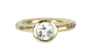 Green Amethyst Textured Bezel Ring