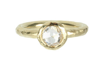 Rosecut Diamond Textured Bezel Ring