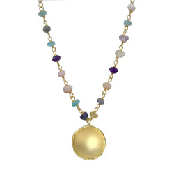 Medium Dishy Pendant with Bead Chain
