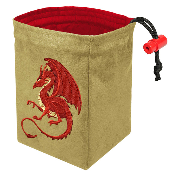 Fantasy Red Dragon - Embroidered Dice Bag