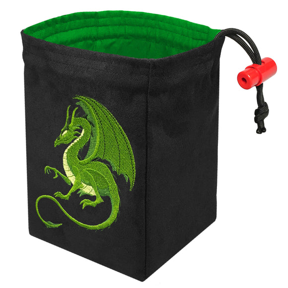 Fantasy Green Dragon - Embroidered Dice Bag