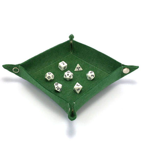 Felt Collapsible Dice Tray - Green