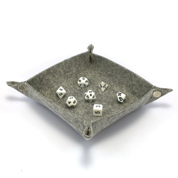 Felt Collapsible Dice Tray - Gray