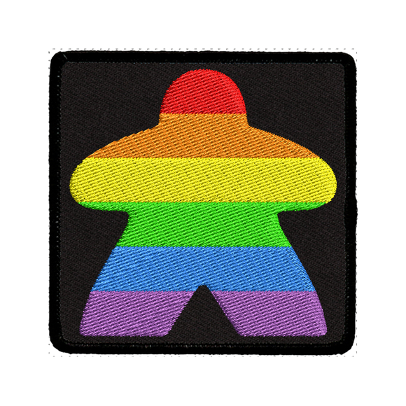 Rainbow Meeple (Black) - Iron-On Patch