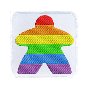 Rainbow Meeple (White) - Iron-On Patch
