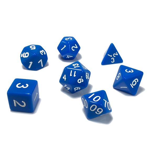 Blue Classic Opaque Dice Set