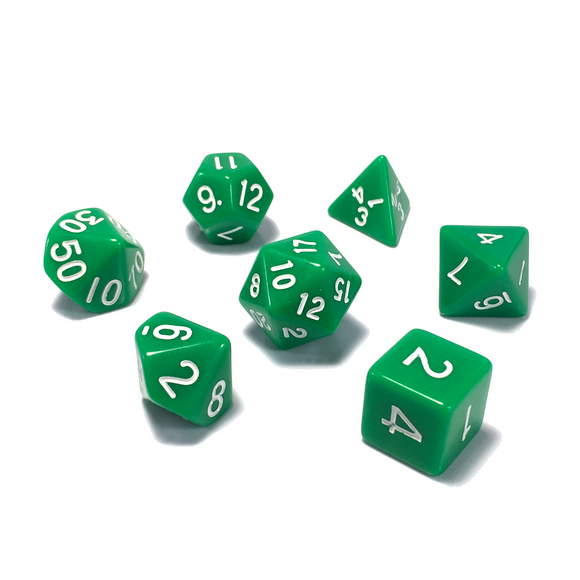 Green Classic Opaque Dice Set