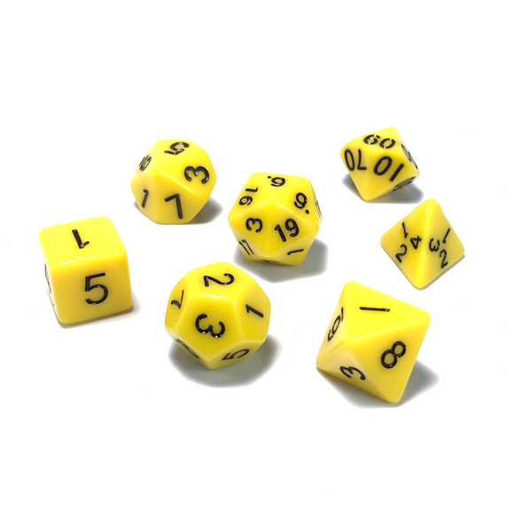 Dice Set - Yellow Opaque