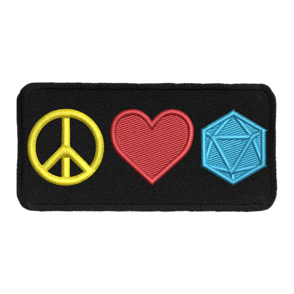 Peace Love and D20 - Iron-On Patch
