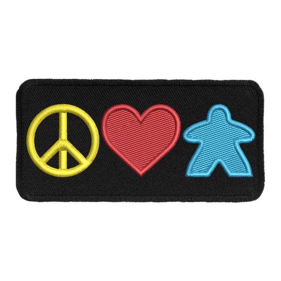 Peace Love and Meeples - Iron-On Patch