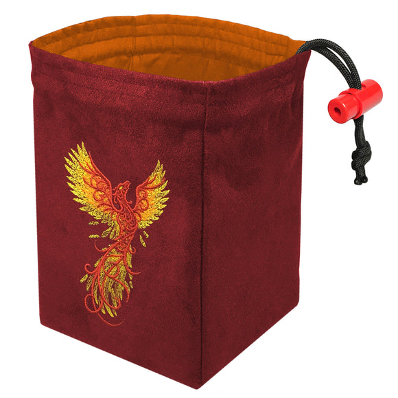 Phoenix Rising Red - Embroidered Dice Bag