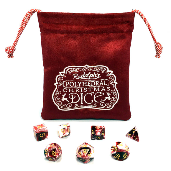 Rudolph's Polyhedral Christmas Dice Pouch - Limited Edition