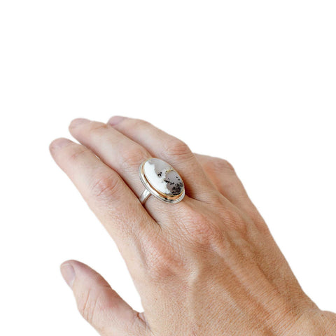 Dendritic Agate Gold and Silver Custom Ring