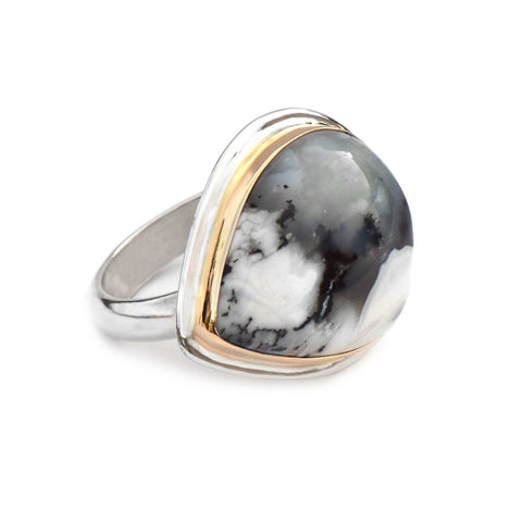 Dendritic Agate Gold and Silver Ring