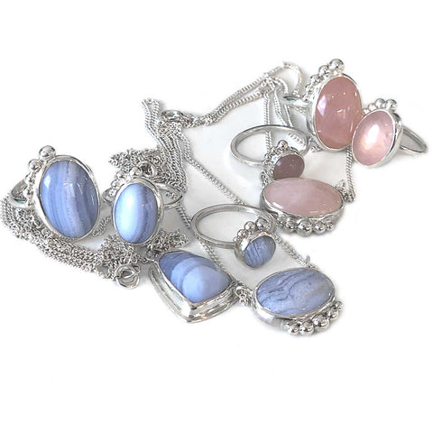 Blue Lace Agate and Rose Quartz Sterling Silver Jewellery