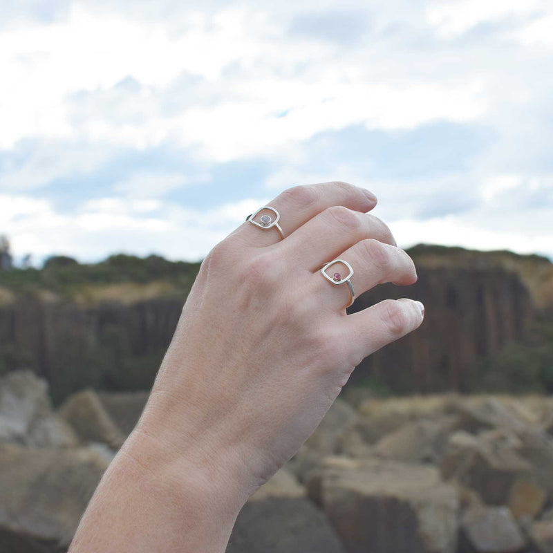 Sterling Silver Ring | Moonstone | Dainty Squared