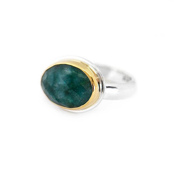 Emerald Gold Bezel Silver Ring Size 7 3/4
