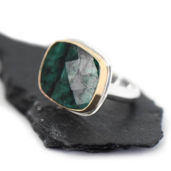 Emerald Rectangle Rose Cut Gold and Silver Ring