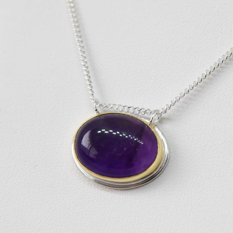 Amethyst Necklace | 14K Gold and Sterling Silver | One of a kind