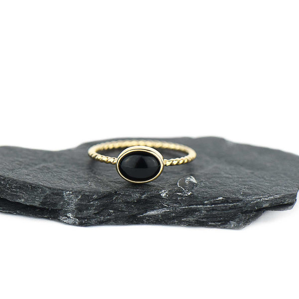 Black Onyx 14K Gold Twist Stacking Ring