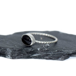 Black Onyx Sterling Silver Twist Ring