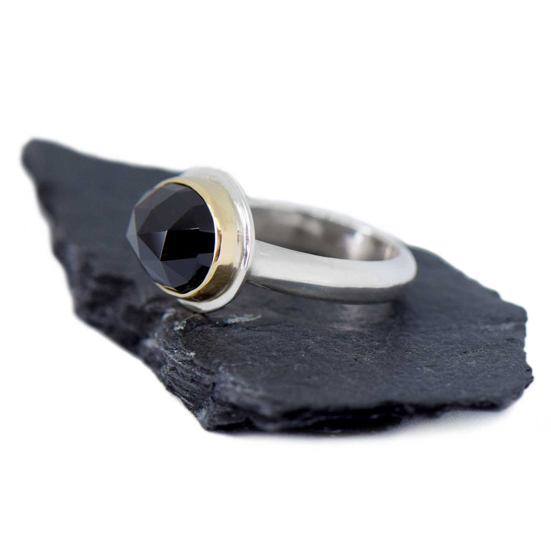 Black Spinel Rose Cut Gold and Sterling Silver Ring