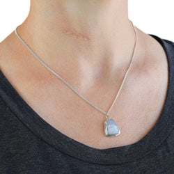 Blue Lace Agate Sterling Silver Necklace