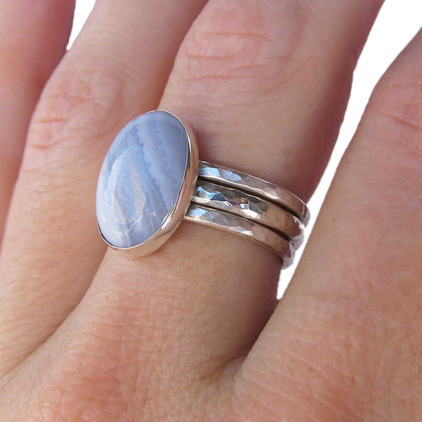 Blue Lace Agate Stack Sterling Silver