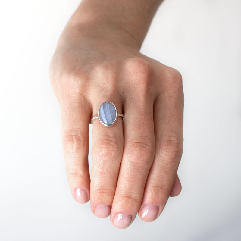 Blue Lace Agate Ring | Sterling Silver | Small Oval Classic