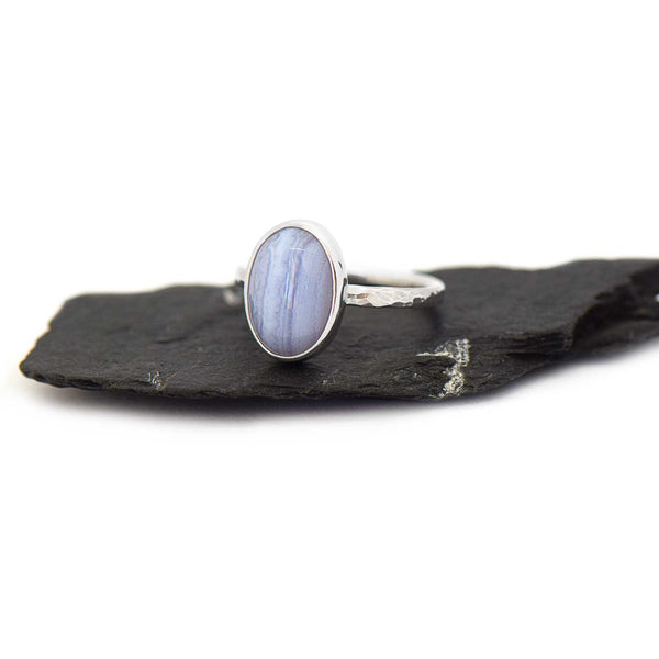 Blue Lace Agate Ring | Sterling Silver | Hammered Band