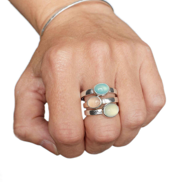 Chalcedony Sterling Silver Rings