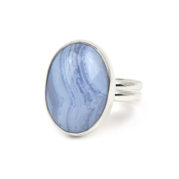 Blue Lace Agate Sterling Silver Statement Ring - Julia Paris Jewelry