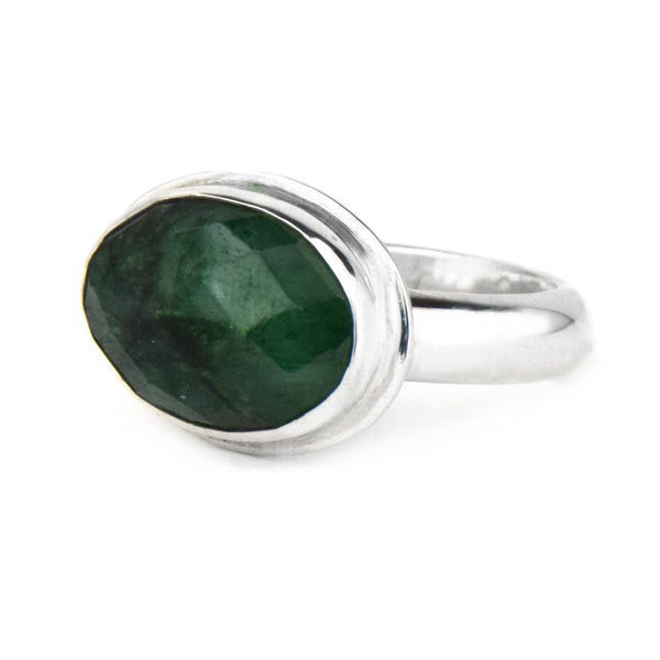 Emerald Rose Cut Sterling Silver Ring