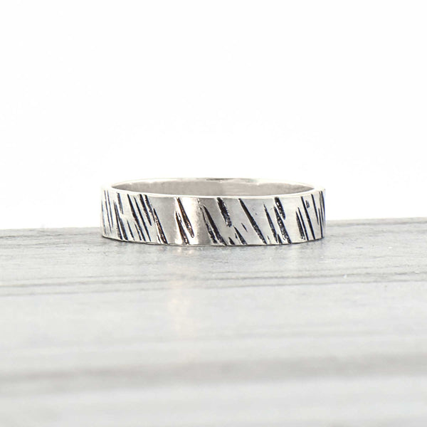 Sterling Silver Wide Band Ring Hammered