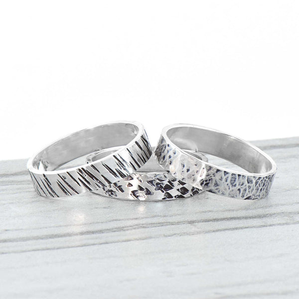 Sterling Silver Band Ring | Diamond Texture