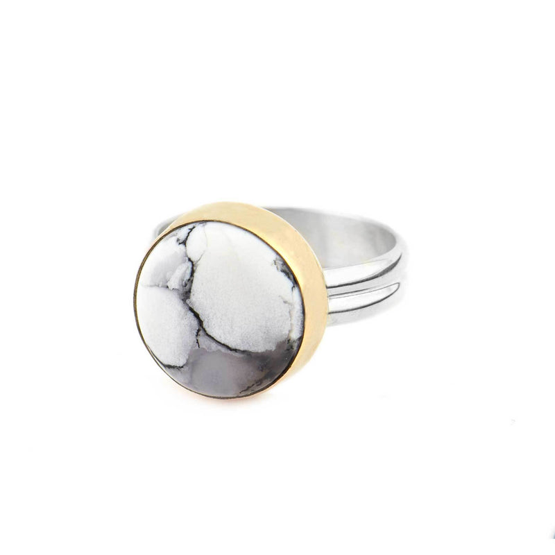 Dendritic Agate Silver and Gold Ring
