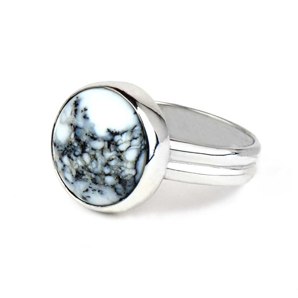 Round Dendritic Agate Ring | Sterling Silver | Pick Your Gemstone