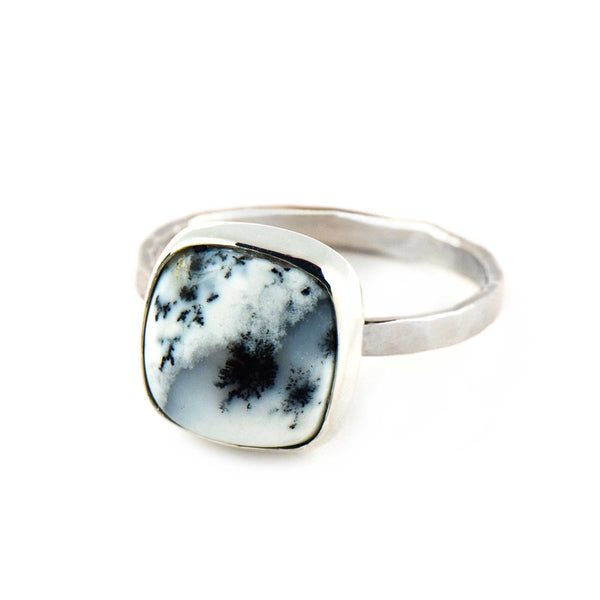 Cushion Dendritic Agate Ring | Sterling Silver | Pick Your Gemstone