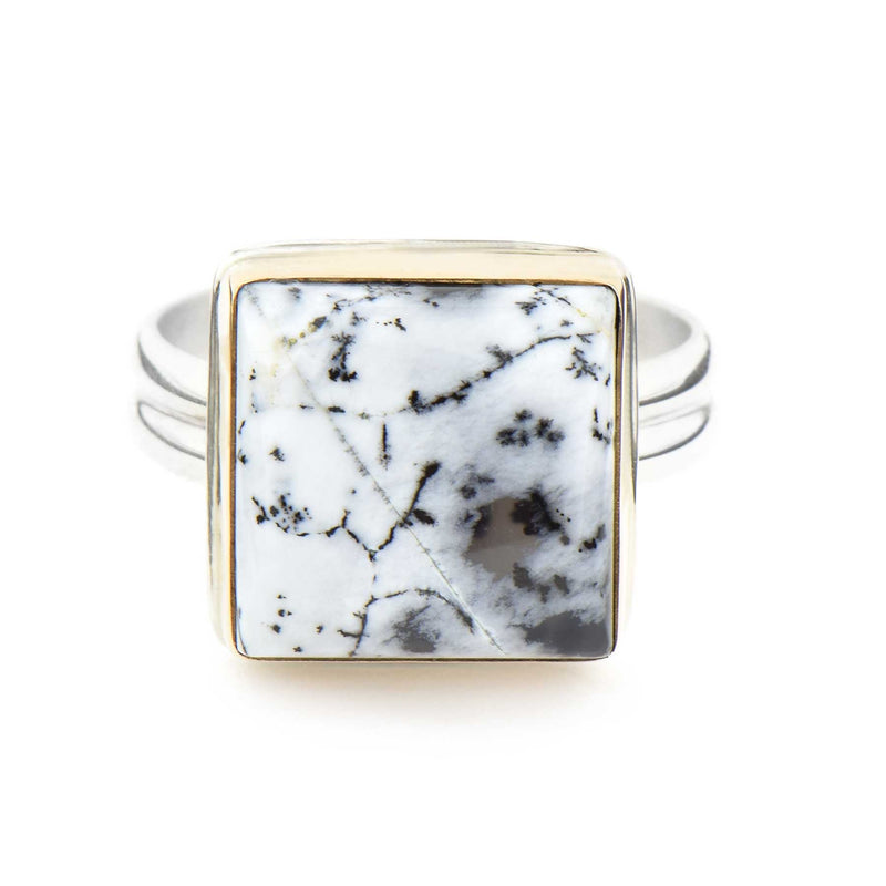 Dendritic Agate Ring Square Gold and Sterling Silver
