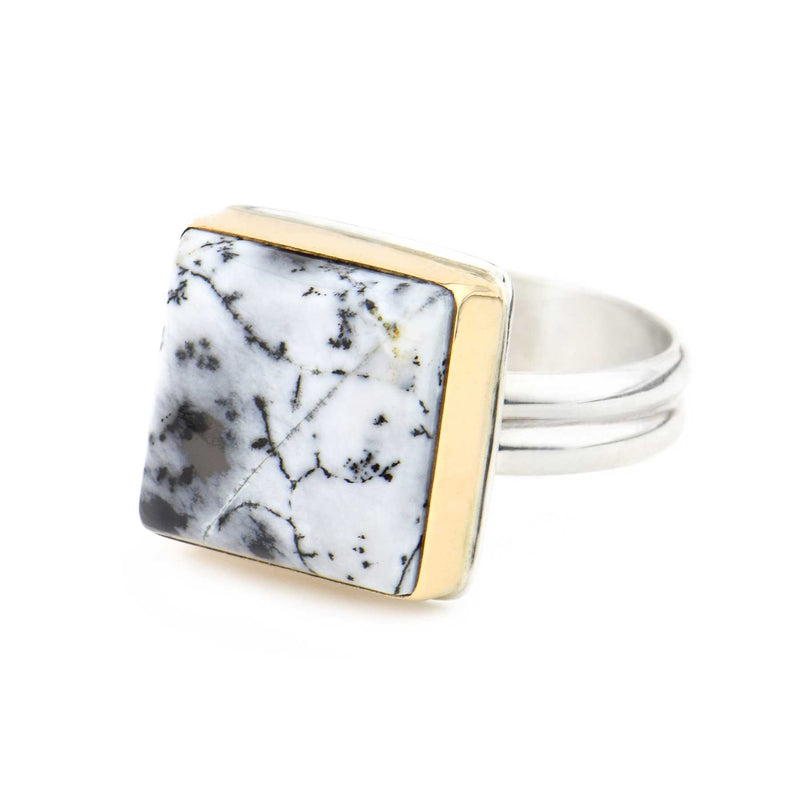 Dendritic Agate Square Ring Gold and Silver