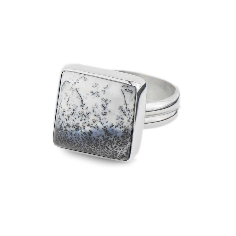 Square Dendritic Agate Ring | Sterling Silver | Pick Your Gemstone